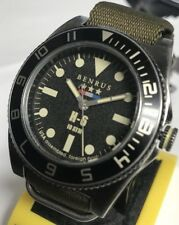 New Benrus H-6 44mm Military Assembled in U.S.A Long Olive Nylon Sport Watch