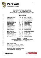 Teamsheet - Port Vale v Milton Keynes Dons 2004/5 (10 Aug)