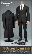 """VORTOYS 1/6 Scale Black Men's Secret Agent Suit Set Fit 12"""" Male Figure Model"""