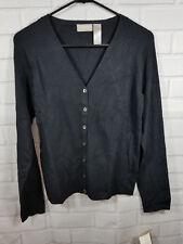 Liz Claiborne Collection Woman's Medium Silk Blend Cardigan Black NWT MSRP $79