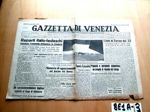 SECONDA GUERRA LA GAZZETTA DI VENEZIA 8 9 SETTEMBRE 1943  (8E1A-3)