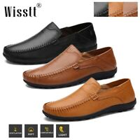 Mens Slip On Leather Shoes Casual Boat Deck Work Driving Loafers Flat Moccasins