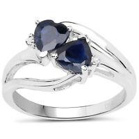 Sterling Sapphire Twin Heart &  Diamond Engagement Ring,  Sizes KLMNOPQRSTUVW