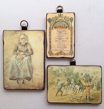 3 Vintage Wall Plaques Atelier Vincent Old Lady S.T.Gill Attacking The Mail Menu
