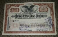STOCK CERTIFICATE 8 Shares US UNITED STATES GLASS COMPANY CO Pennsylvania OLD!