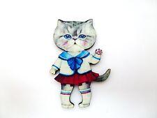 Colorido Kawaii Gato Gatito Gato marinero de madera Broche Pin Chica arte alterado