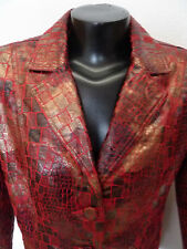 Bamboo Traders Unique Leather-Look Jacket Red/Black Animal Print M
