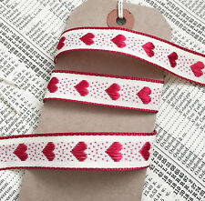 Gorgeous Woven Red Heart Rustic Cream Ribbon 1m - 20m roll Christmas Craft Cake