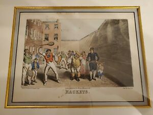 """Original antique engraving by G. Hunt """"Rackets"""" 1827 London Etched by Th. Lane"""