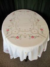 "LARGE TABLECLOTH HAND EMBROIDERED TINY CROSS STITCH~48""x66""~CREAM"
