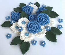 Powder Blue/Ivory Roses Bouquet Cake Decorations Topper Sugar Edible Flowers