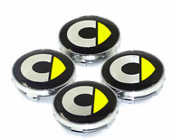 Satz 4 x 60mm Smart Fortwo ForFour Chrom Basis Nabenkappen Radkappe Yellow Gelb
