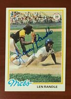 1978 Topps #544 Lenny Randle Mets Blue Sharpie Signed Auto Authentic Autograph