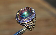 STERLING SILVER COLLEEN LOPEZ MYSTIC TOPAZ & TANZANITE RING SIZE 8 NWOT