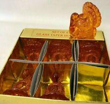 Set of 6 Amber Orange Glass Turkey Taper Holders 2x2 Thanksgiving Fall Autumn