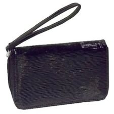Solid Black Zip Around Wristlet  Cosmetic Bag
