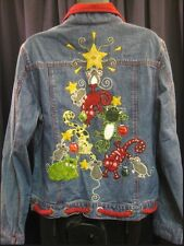 Bleu Bayou Jean Shirt Jacket US4 Embroidered Cats Mouse Tree Stars Denim Xmas 🎄