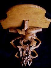 Antique Black Forest Eagle Hunting Rabbit Hand Carved Shelf