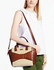 KATE SPADE 2 Park Avenue Luxe Small Beau Madison Ave Brown Croc Leather Bag