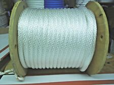 anchor rope dock lines 3/8 x 100 white Solid braid  multi filament poly made USA
