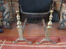 Large Antique Solid Brass Fire Dogs Basket Support For Open Fire