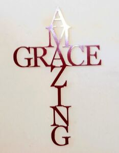 Amazing Grace Metal Cross Jesus cross or Infinity with red powdercoat finish