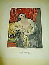 """BELLE GRAVURE COULEURS """"CLEOPATRA"""" 1835 Signée LUIGI MARTELLI ANTIQUITE ITALIE"""