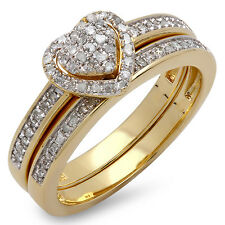 18K Yellow Gold Plated Silver Diamond Heart Bridal Ring Set 1/4 CT (Size 8)