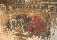 Antique impressionist portrait oil painting corrida bullfighting bull and torero