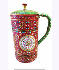 Natural Ayurveda Indian 100% Copper New Meenakari Beautiful Printed Water Jug