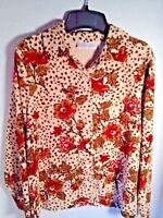 Blouse Velour Big Shirt Dressbarn Petite Medium Brown Tan Red Floral Button Soft