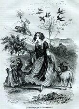 Quattro Stagioni,di Grandville.Quatre Saisons.4 Stampe + Passepartout.1842-1844