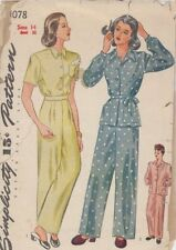 Vintage Misses' and Women's Pajamas Sewing Pattern S1078 Size 14