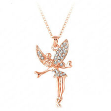 18K Rose Gold Crystal Tinker Bell Fairy Necklace High Quality *UK*