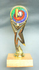 team lot of 8 baseball award full color youth insert trophies wood base