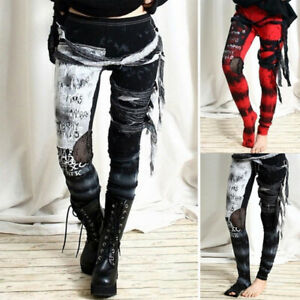 Women Eyelet Gothic Punk Emo Occult Witch Pants Leggings Halloween Costume Dress