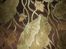 6Y new Designer upholstery fabric woven Floral green gold on dark brown