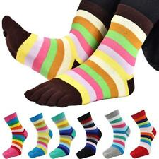 Ladies Women's Multi-coloured Striped Toesocks Five Toes 5 Finger Toe Socks Soft
