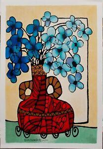 "SUMMER SALE!  AVI BEN SIMHON   Original Serigraph ""Blue Flowers""  SIGNED"