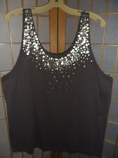 NWOT MOSSIMO TAUPE TANK TOP GOLD SEQUIN TRIM  PLUS SIZE 24 26 SLEEVELESS