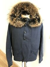 New with Tags Yves Salomon Blue Cotton Pullover Jacket Fox Fur Hood Sz 54 | L