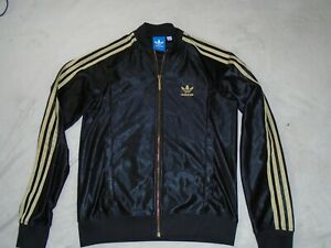 ADIDAS TRACK TOP TRACKSUIT JACKET BLACK GOLD SIZE 10 WOMENS SMALL