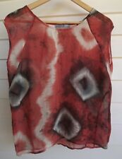 Just Jeans Women's Sheer Red White Black Top - Size 8