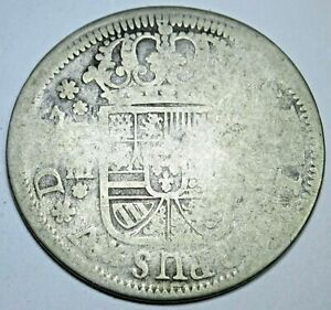 1700's Spanish Silver 2 Reales Antique Old Genuine Colonial Cross Pirate Coin