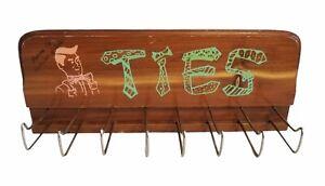 Vintage 50's Design Neck Tie Rack Belt Holder Wall Mount CLOSET ORGANIZER 8 Hook