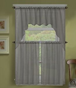 3PC (K66) SOLID VOILE SHEER KITCHEN WINDOW CURTAIN 2 TIERS + 1 SWAG VALANCE SET