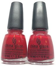 China Glaze Nail Polish RED SATIN 1111 True Blue Base Jelly Red Creme Lacquer