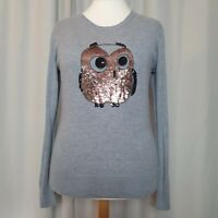 FRENCH CONNECTION Grey Sequin Owl Jumper (Size XL/UK 14-16) Fine Knit