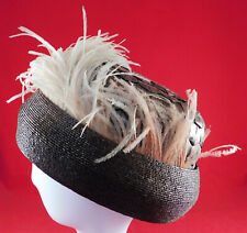 Vintage Edwardian Brown Straw Basket Weave Ostrich Feather Brimless Toque Hat
