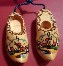 "Dutch Souvenir Wood Clogs Holland Hand Painted Windmills 4.5"" L vtg"
